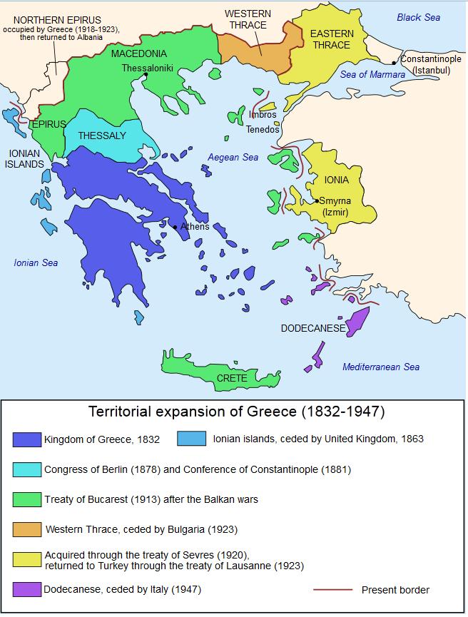 Χάρτης με τα σύνορα Βασιλείου της Ελλάδας, όπως ορίστηκαν στη Συνθήκη του 1832 (σε σκούρο μπλε)