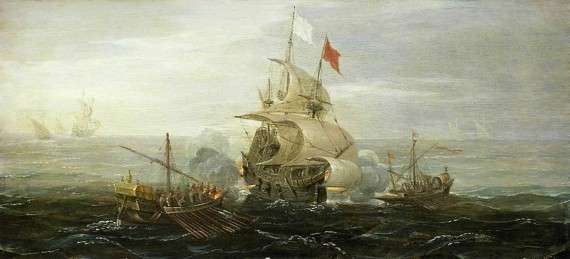 Γαλλικό πλοίο δέχεται επίθεση πειρατών της Μπαρμπαριάς. περ. 1615