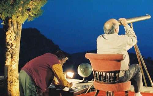Ο Θεοδόσης κι ο Θεοφάνης (Α. Μπακιρτζής και Δ. Βλάχος) κατά τη διάρκεια αστρονομικής μελέτης