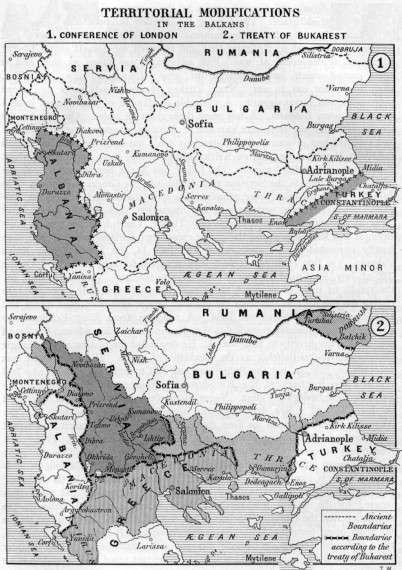 Χάρτης των Βαλκανίων α) κατόπιν της Συνδιάσκεψης του Λονδίνου (1913) και β) μετά την Συνθήκη του Βουκουρεστίου (1913).
