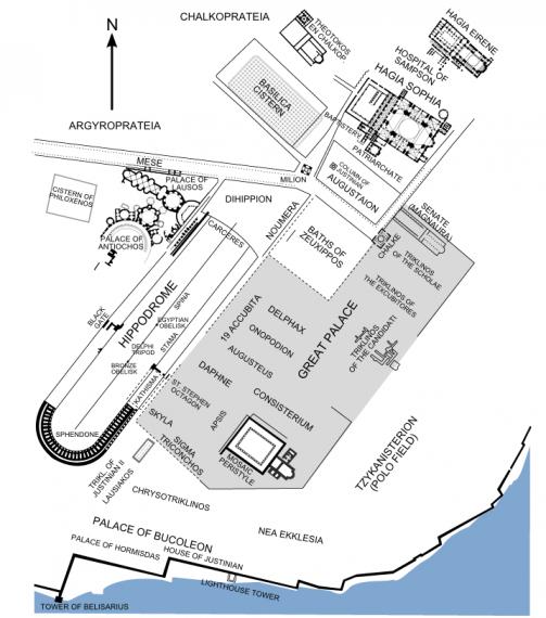 Ο ιππόδρομος στην Κωνσταντινούπολη. Location of the Hippodrome in Constantinople.