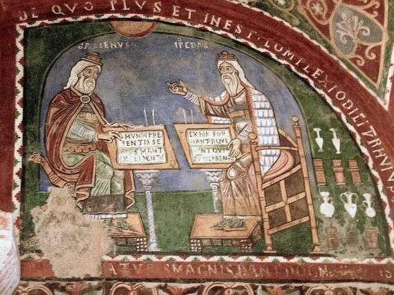 Τοιχογράφηση δείχνει Γαληνός και Ιπποκράτης. Τοιχογραφία, 12ος αιώνας, Anagni, Ιταλία