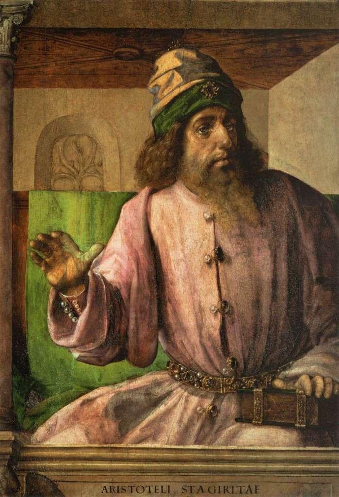Ο Αριστοτέλης ( 384 - 322 π.Χ. ) ήταν αρχαίος Έλληνας φιλόσοφος και πολυεπιστήμονας, μαθητής του Πλάτωνα και διδάσκαλος του Μεγάλου Αλεξάνδρου. Μαζί με το δάσκαλό του Πλάτωνα αποτελεί σημαντική μορφή της φιλοσοφικής σκέψης του αρχαίου κόσμου, και η διδασκαλία του διαπερνούσε βαθύτατα τη δυτική φιλοσοφική και επιστημονική σκέψη μέχρι και την Επιστημονική Επανάσταση του 17ου αιώνα. Πίνακας του Justus van Gent