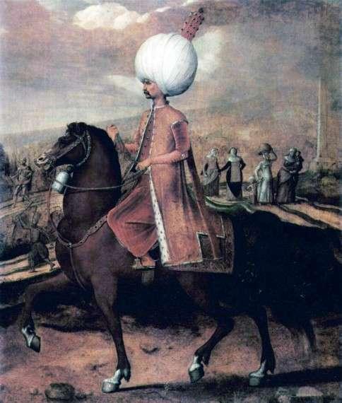 Ο Σουλεϊμάν ο Μεγαλοπρεπής με το άλογο  του. Hans Eworth.