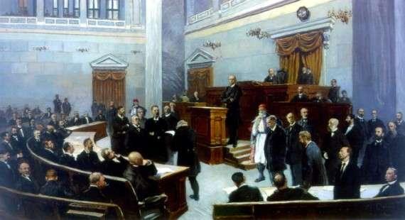 Ο Χαρίλαος Τρικούπης στο βήμα της Βουλής