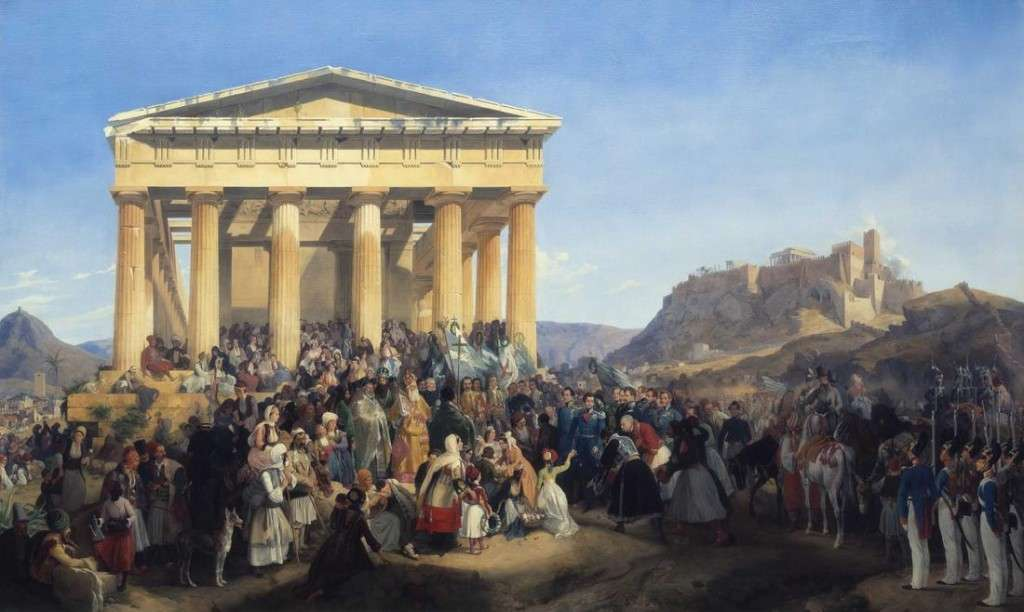 """""""Η άφιξη του βασιλιά Όθωνα στην Αθήνα"""" από τον Peter von Hess, 1839. """"The Entry of King Otto in Athens"""" by Peter von Hess, 1839"""
