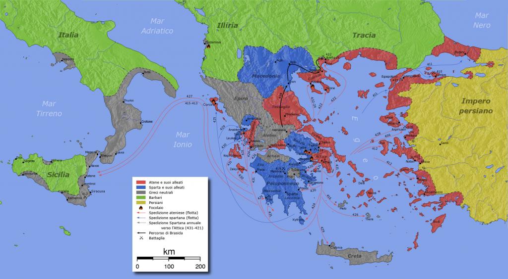 Χάρτης του Πελοποννησιακού Πολέμου. Στον χάρτη απεικονίζονται οι συμμαχίες και οι στρατιωτικές επιχειρήσεις του πολέμου (ιταλικά).