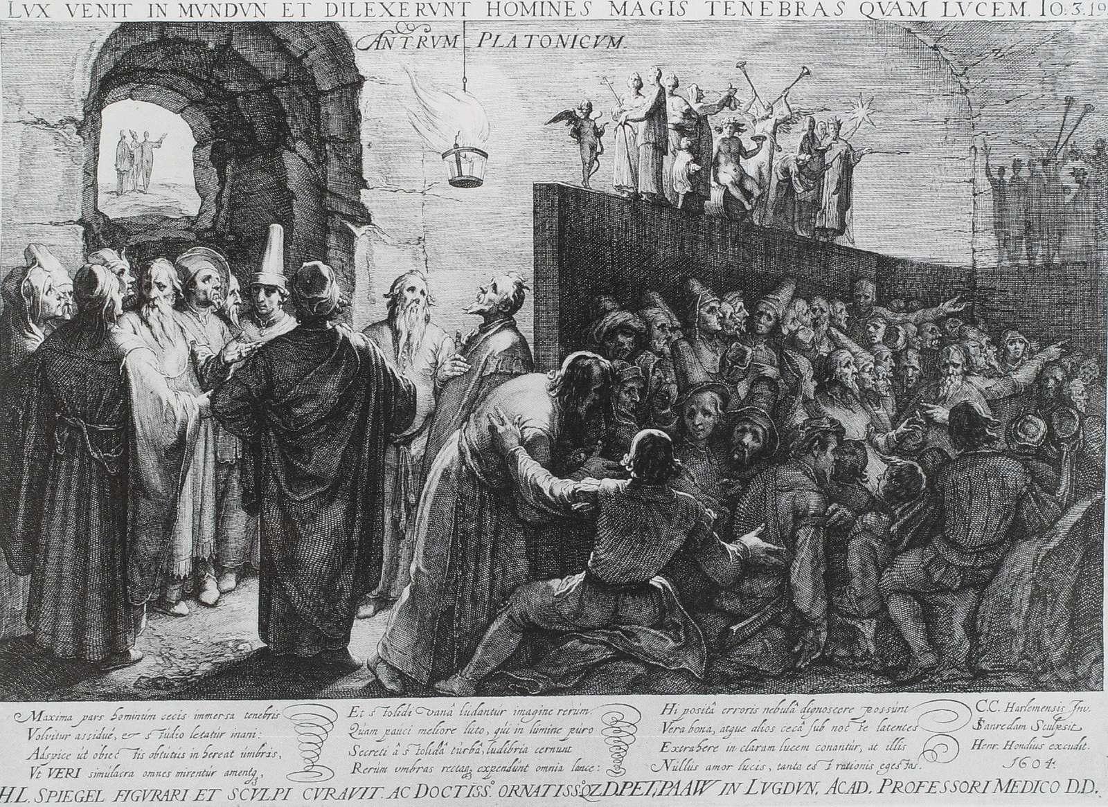 Ο Πλάτων και η αλληγορία του σπηλαίου. Plato's Allegory of the Cave by Jan Saenredam, according to Cornelis van Haarlem, 1604, Albertina, Vienna