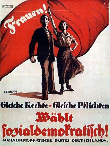 """Προεκλογική αφίσα του SPD, 1919. """"Γυναίκες! Ίσα δικαιώματα - ίσες υποχρεώσεις. Ψηφίστε σοσιαλδημοκρατικά!"""""""