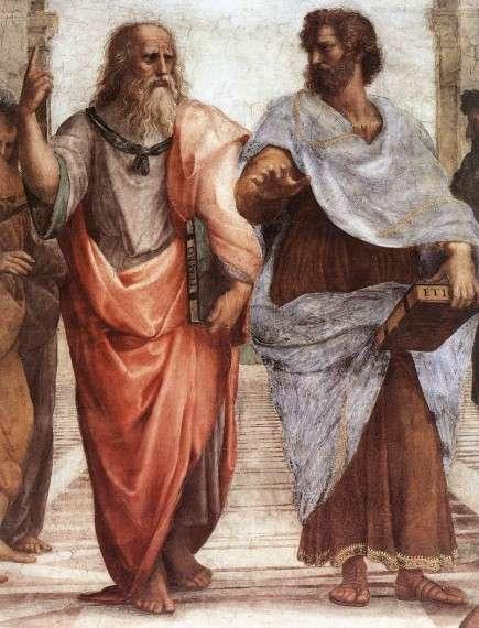 Ο Πλάτωνας (αριστερά) και ο Αριστοτέλης (δεξιά), λεπτομέρεια της Σχολής των Αθηνών, τοιχογραφία του Ραφαήλ. Plato (left) and Aristotle (right), a detail of The School of Athens, a fresco by Raphael.
