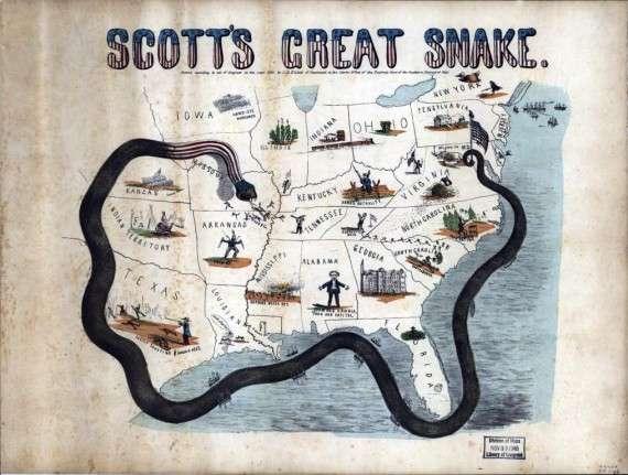 """Καρτούν του 1861 με το """"Σχέδιο Ανακόντα"""" του Σκοττ"""