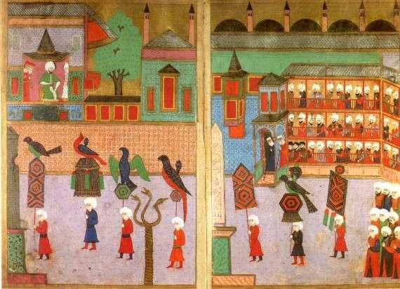 Πομπή των συντεχνιών μπροστά από τον Σουλτάνο στον Ιππόδρομο, Οθωμανική μικρογραφία από το Επώνυμο-i Vehbi (1582).
