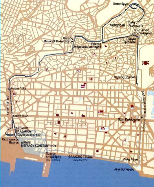 Τα τείχη της Θεσσαλονίκης Ο χάρτης των τειχών βρίσκεται στο βιβλίο Περίπατοι στη Βυζαντινή Θεσσαλονίκη των Ε. Κουρτίδου - Νικολαΐδου και Α. Τούρτα εκδόσεις ΚΑΠΟΝ