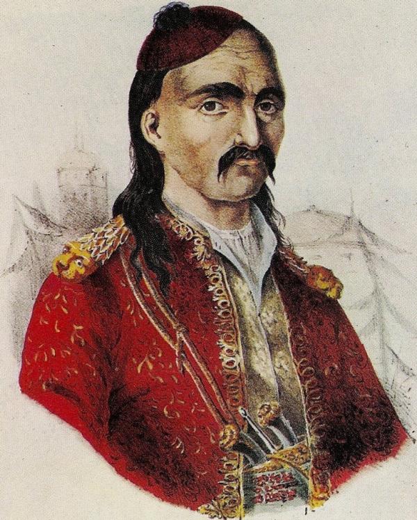 Ο κλέφτης του Μοριά Θεόδωρος Κολοκοτρώνης, ήρωας της Επανάστασης, επιζωγραφισμένη λιθογραφία, Adam Friedel, Παρίσι 1830