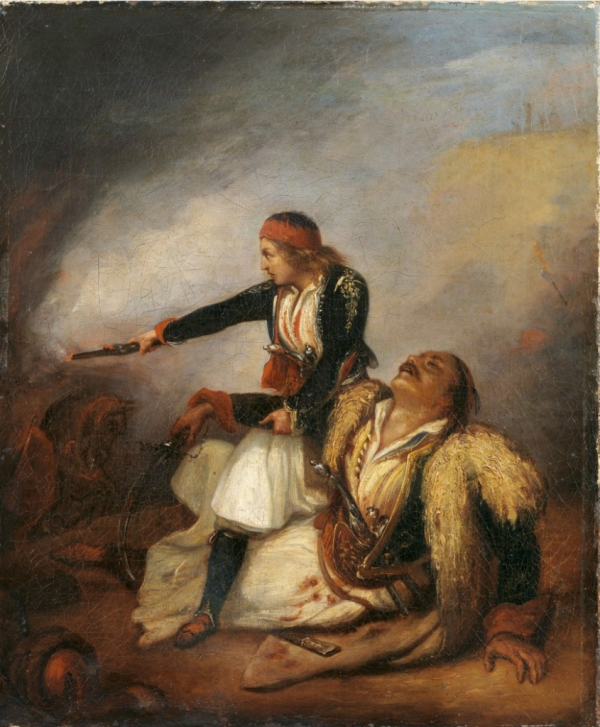 Άγνωστος, (19ος αιώνας) [με βάση έργο του Ary Scheffer (1795-1858)]  Ελληνόπουλο υπερασπίζεται τον πατέρα του