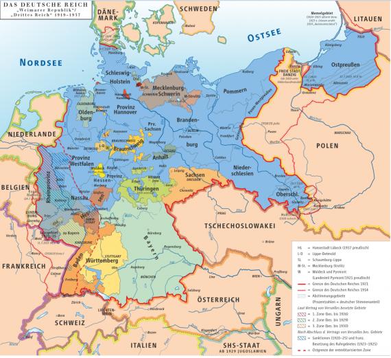 Η Γερμανία κατά τη διάρκεια της περιόδου της Βαϊμάρης. Το μεγαλύτερο κράτος, το Ελεύθερο κράτος της Πρωσίας, εμφανίζεται σε μπλε χρώμα.