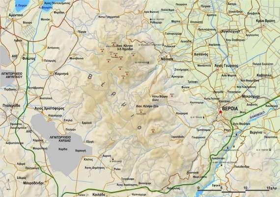 Το όρος Βέρμιο και σημερινός χάρτης της περιοχής