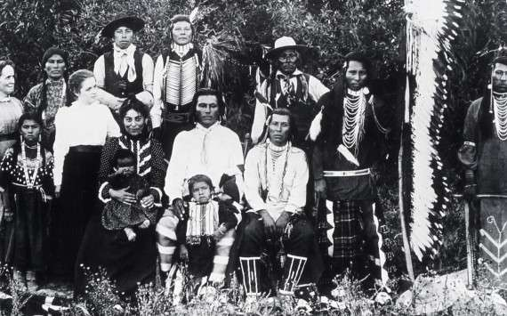 Bannock indians with two white women; Photographer unknown; No date; History - Indians