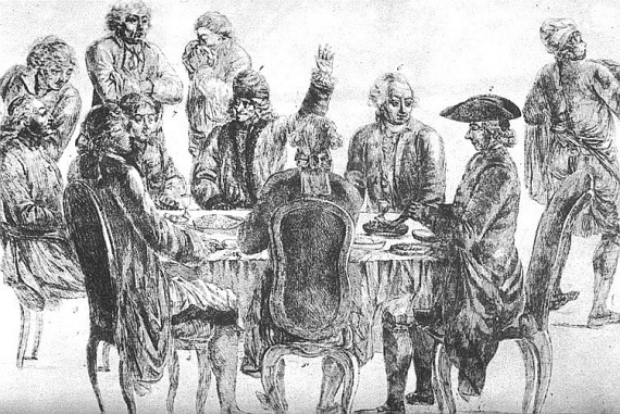 At Café Procope: at rear, from left to right: Condorcet, La Harpe, Voltaire (with his arm raised) and Diderot.
