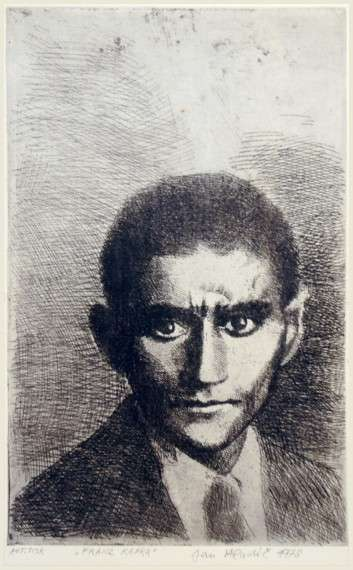 Franz Kafka, etching by Jan Hladík, 1978