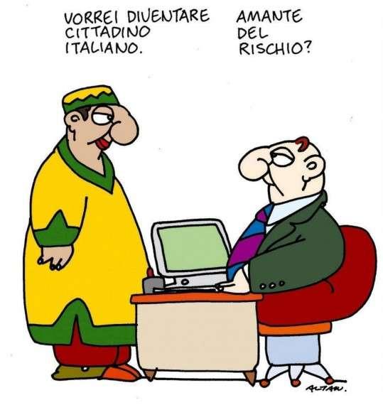 """""""- Θα ήθελα να γίνω Ιταλός πολίτης. -  Είστε εραστής του κινδύνου;"""" Σκίτσο του Αλτάν"""