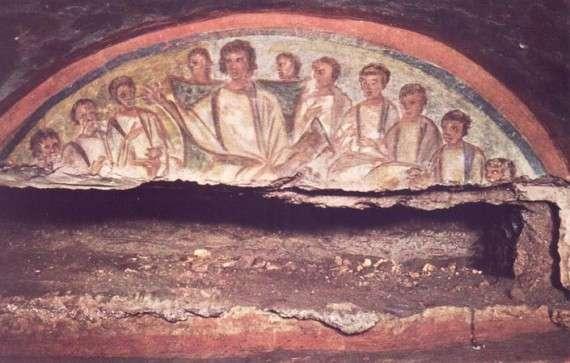 Διδασκαλία του Ιησού, τοιχογραφία από κατακόμβη της Ρώμης, αρχές 4ου αι.