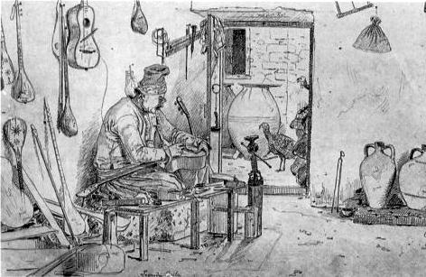 Martinus Rørbye (1835): Leonidas Gailas da Athina, Fabricatore di bossuchi