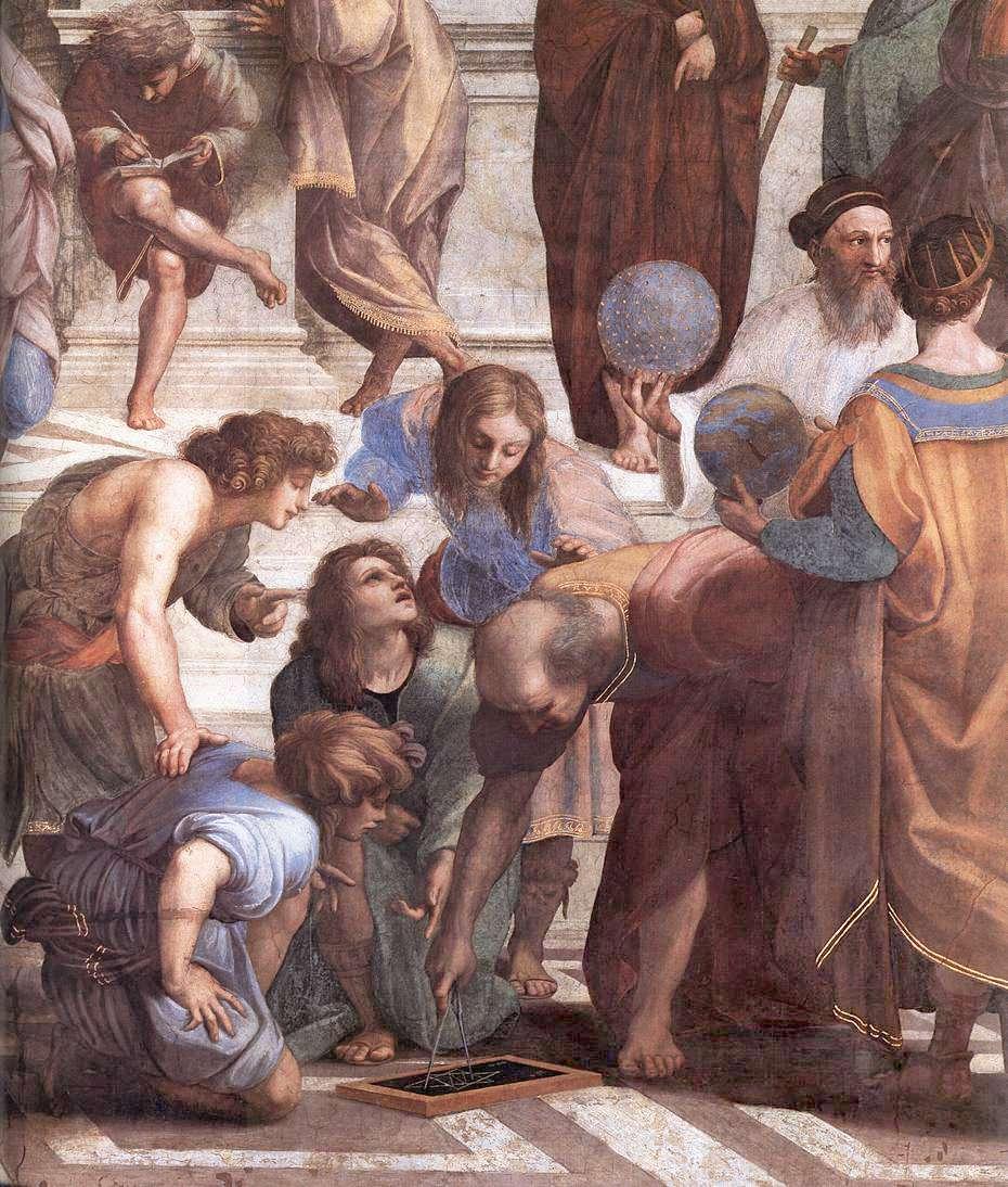 Ο Ευκλείδης σε λεπτομέρεια από τη Σχολή των Αθηνών του Ραφαήλ, 1509.