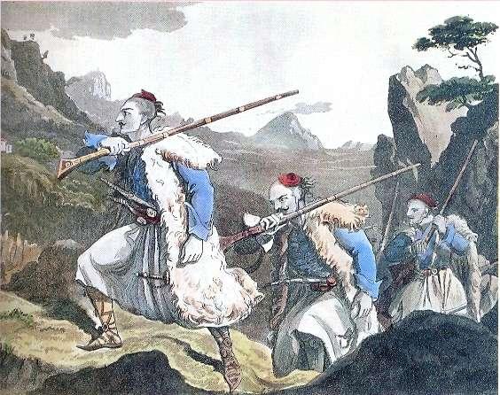 Σουλιώτες πολεμιστές, χαλκογραφία, μέσα 19ου αιώνα.