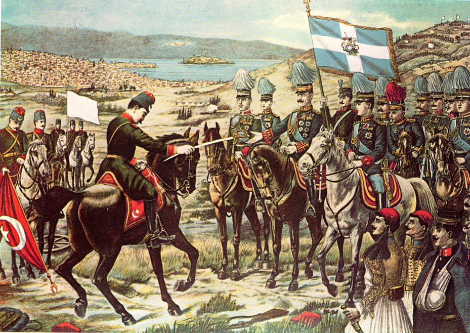 Λιθογραφία που δείχνει την παράδοση των Ιωαννίνων από τον Εσάτ Πασά στον διάδοχο Κωνσταντίνο, κατά την διάρκεια του Πρώτου Βαλκανικού Πολέμου