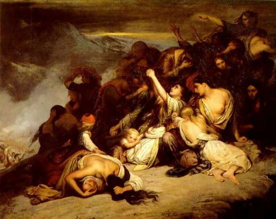 Το 1824 ο Πουκεβίλ εκδίδει την τετράτομη «Ιστορία της αναγεννήσεως της Ελλάδος». Γυναίκες Σουλιώτισσες. Les femmes souliotes par Ary Scheffer (1827).