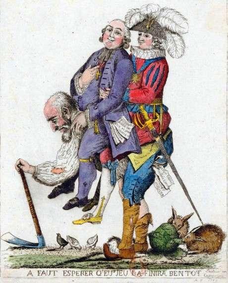 Καρικατούρα του 18ου αιώνα που αναπαριστά την τρίτη τάξη στην Γαλλία σε πλήρη εκμετάλλευση, να έχει στους ώμους της τις υπόλοιπες δύο τάξεις