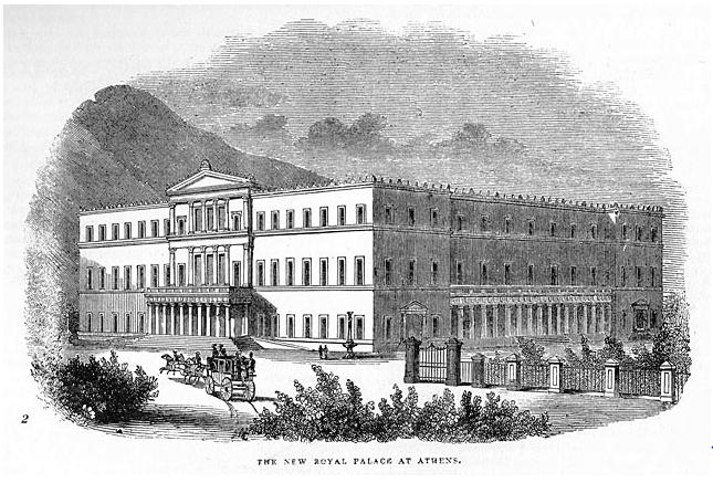 Τα Παλαιά Ανάκτορα των Αθηνών, σημερινή έδρα της Βουλής των Ελλήνων (Πηγή: Αρχείο Ψηφιοποιημένων Εικόνων Ε.Ι.Ε.).