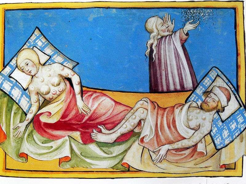 Από την βίβλο του Toggenburg 1411. Ιερέας αυλογει θύματα της πανώλης.