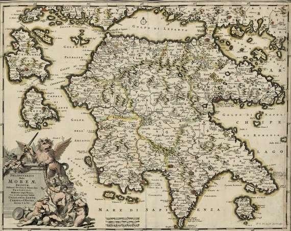 Παλαιός χάρτης της Πελοποννήσου
