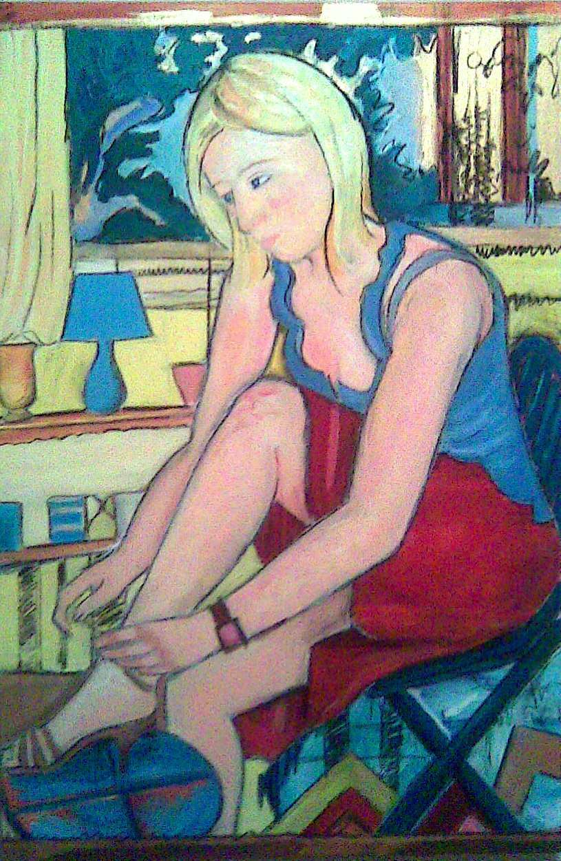 Painting Of A Blonde Girl By Kate Duffy