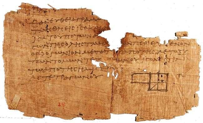 Πάπυρος της Οξυρρύγχου με το πιο παλιό διάγραμμα από τα Στοιχεία του Ευκλείδη