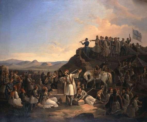 Το στρατόπεδο του Καραϊσκάκη στην Καστέλα, Θεόδωρος Βρυζάκης (1855).