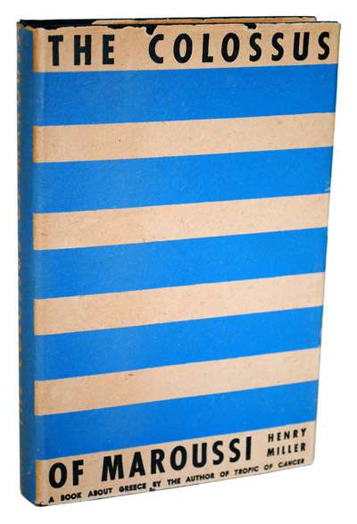 """Το βιβλίο του Χένρυ Μίλλερ (Henry Miller) """"Ο κολοσσός απ' το Μαρούσι"""", εξώφυλλο"""