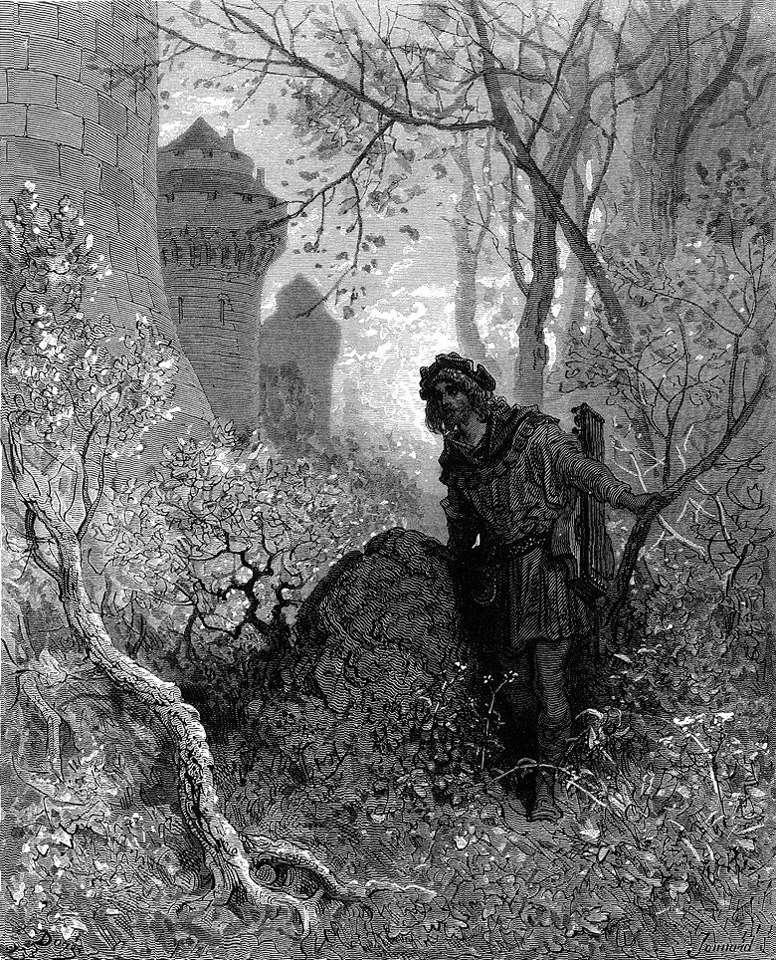"""Γκραβούρα του Paul Gustave Doré απο τη σειρά """"Οι σταυροφορίες"""". Ο Μπλοντέλ ακούει τη φωνή του Ριχάρδου του Λεοντόκαρδου."""