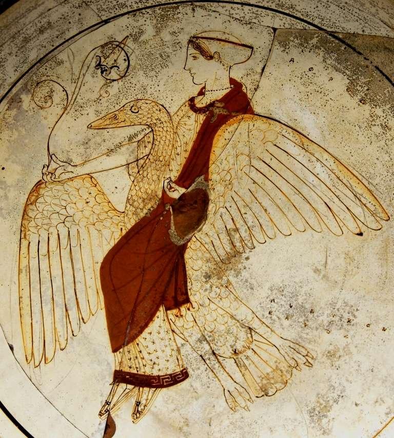 Η θεά Αφροδίτη, καβάλα σε μια χήνα., γύρω στο 480 π.Χ.. Βρέθηκε στην Ρόδος). Λονδίνο, Βρετανικό Μουσείο.