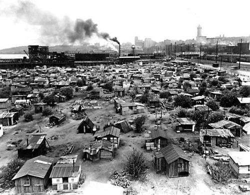 Hoovervilles, οι παραγκουπόλεις των ανέργων στα προάστια των μεγαλουπόλεων.