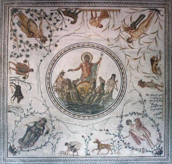 Ο Ποσειδώνας.The Triumph of Neptune floor mosaic from Africa Proconsularis (present-day Tunisia), celebrating agricultural success with allegories of the Seasons, vegetation, workers and animals viewable from multiple perspectives in the room (latter 2nd century)