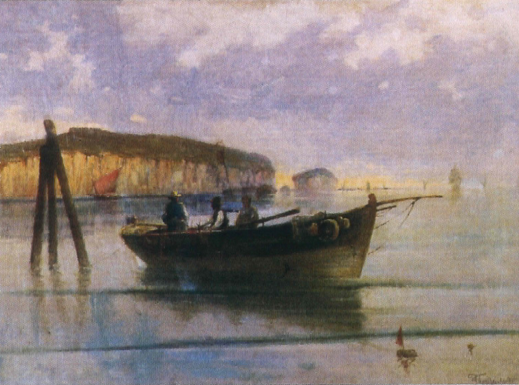 Γιάννης Πούλακας (1863–1942), Θαλασσογραφία με βάρκα (1935). Ελαιογραφία, 30 εκ. x 45 εκ. Μουσείο Αλέκου Κ. Δάμτσα (Κέντρο Τέχνης Τζιόρτζιο ντε Κίρικο), Βόλος.