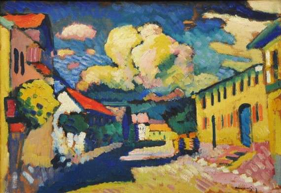 Wassily Kandinsky, 1908, Murnau, Dorfstrasse (Street in Murnau, A Village Street), oil on cardboard, later mounted on wood panel, 48 x 69.5 cm, The Merzbacher collection, Switzerland