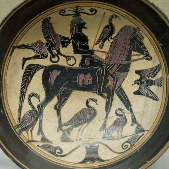 Name vase of the Spartan artist known as the Rider Painter (black-figured kylix, ca. 550–530 BC)