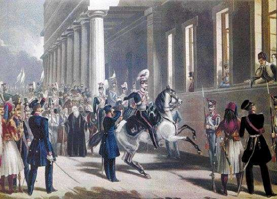 Η επανάσταση της 3ης Σεπτεμβρίου. Διακρίνεται έφιππος ο Δημήτριος Καλλέργης (Συλλογή Λ. Ευταξία, Αθήνα)