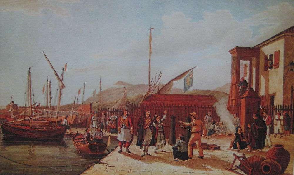 Το Υγειονομείο στη Λευκάδα,πίνακας του J. Cartwright, 1821