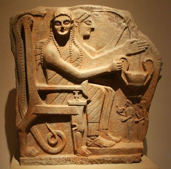 Ancient Greek Relief with Heroes and Worshipers from Sparta. circa 540 BC, made of marble. Courtesy & currently located at the Altes Museum, Berlin.