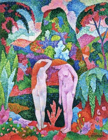 Jean Metzinger, 1905–06, Baigneuses, Deux nus dans un jardin exotique (Two Nudes in an Exotic Landscape), oil on canvas, 116 x 88.8 cm. Carmen Cervera Thyssen-Bornemisza Collection